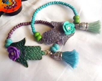 SALE -- HAMSA and ROSE -Bohemian style bracelet - Amulet - Ethnic  bracelet