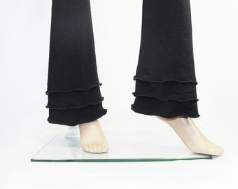 Womens Yoga Pants -Bootcut Triple Ruffled Cuffs -Hand Dyed Bamboo/Organic Cotton Jersey-Custom Size and Color-Made to Order - XXS thru Large