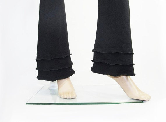Womens Yoga Pants - Bootcut Triple Ruffled Cuffs - -All Natural Fiber Jersey - Custom Size and Color - Made to Order - XXS thru Large