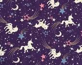 Purple Unicorn Cosmo Rainbow Knit Fabric Cotton lycra