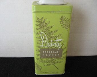 Dainty Deodorant Powder Tin with leafy graphics Rexall Drug Stores