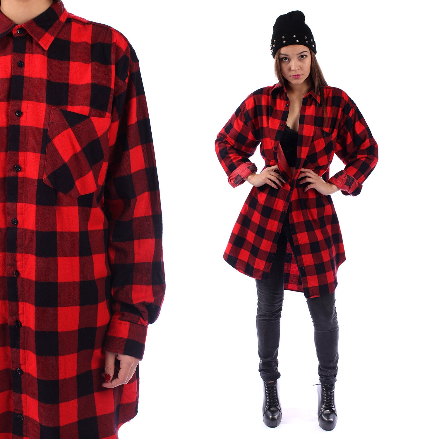 Red buffalo plaid flannel shirt 90s grunge red black 1990s for Red buffalo flannel shirt