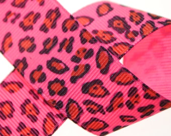 Leopard Print Pink, Brown, and Black Grosgrain 7/8 inch wide - Three, Five, or Ten Yards