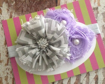 Elastic Flower Headband - Newborn, Infant, BabyGirl -  Photo Prop - Gray Chevron and Lavender  - READY TO SHIP