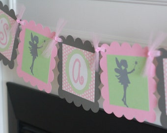 Its a Girl Baby Shower Pink Green & Grey Polka Dot Fairy Silhouette Theme Banner - Party Pack Specials - Free Ship Over 65.00