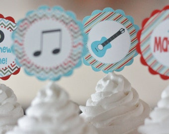 12 Red Blue Music Guitar Record Rock Star Rocker Theme Birthday Cupcake Toppers - Ask About our Party Pack Sale - Free Ship Over 65.00