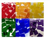 Mosaic Tiles - 600 Small Squares - Red Orange Yellow Green Blue Purple Cathedral Stained Glass - Hand-Cut