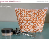 BLACK FRIDAY CYBER Monday Small Makeup and Cosmetic Bag in Orange Pavlova Teak