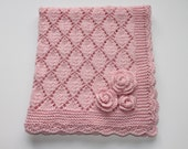 Hand knitted PINK Merino Wool Baby Nursery Decor Pram Blanket with Three Roses and crocheted edge Ready to Ship
