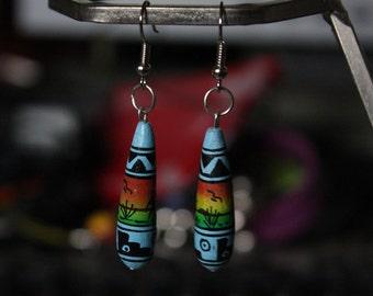 Ceramic Peruvian style drop earrings