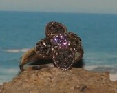 Sterling silver amethyst marcasite ladies / womens dinner cocktail ring