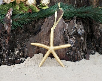 Beach Christmas Ornament - Beach Decor Gold Starfish Christmas Ornament - Set of 3 REAL Starfish -  - Nautical Ornaments