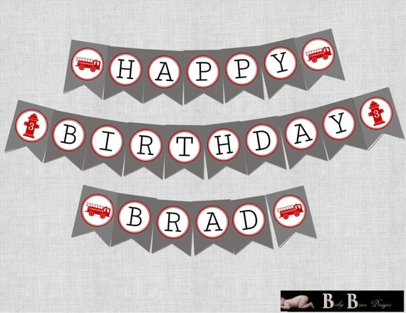 Fire Truck Birthday Party- Banner- Printable or shipped (red, gray, black)