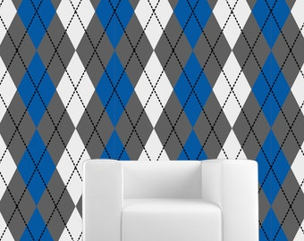 Removable Wallpaper- Argyle- Peel & Stick Self Adhesive Fabric Temporary Wallpaper-Repositionable-Reusable- FAST. EASY.