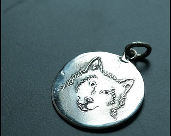 Lobo - Sterling silver pendant with wolf head