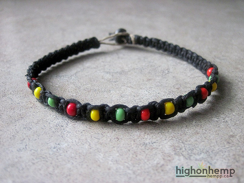 beaded rasta hemp bracelet