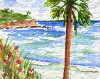 dollhouse art, aceo, Torrance Beach, Redondo Beach, Palos Verdes, California, pacific ocean, south bay, Los Angeles, giclee