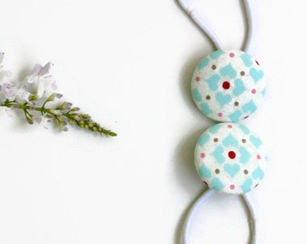 Aqua Hearts Red Dots Pony Tail Holder Hair Elastic Hair Tie - Set of 2 - Ideal Gift