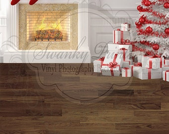 10ft x 16ft TWO IN ONE Vinyl Photography Backdrop / Custom Photography Prop / White Christmas Fireplace