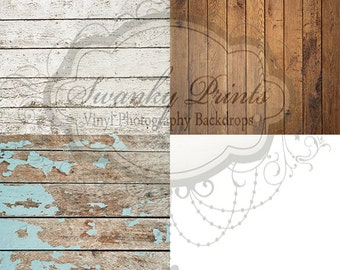 FOUR 2' x 2' Customer Favorite Wood Floordrops / Vinyl Photography Backdrops for Product Photos