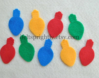 24 Piece Die Cut Felt Christmas Lights