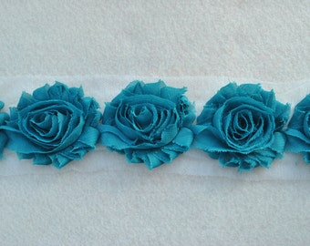 Shabby Chiffon Rose Trim, Shabby Flower, Teal, 1 yard