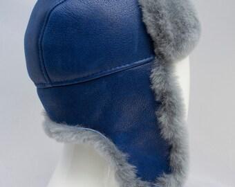 Sheepskin Trapper Ushanka Russian Style Bomber Hat CERULEAN BLUE Arctic Store® Arktika