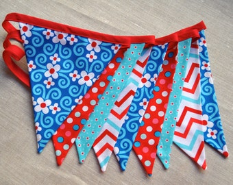 Turquoise, red & aqua girls fabric pennant bunting banner, birthday party decoration, cake smash photo prop