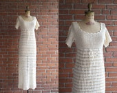 Vintage 1970s Getaway Dress / 70s white cream crochet dress / Small S XS