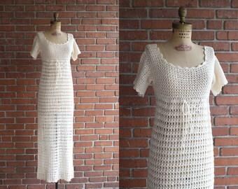 Vintage 1970s Getaway Dress / 70s white cream crochet dress / Small S XS