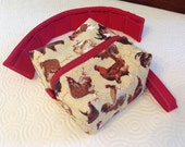 Essential Oils Case Pouch, holds 20 bottles, 5ml - 15 ml (.5 oz), Ready to ship.   Chickens with red lining.