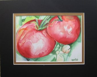 Tomatoes, Red Watercolor Painting Giclee Print, Kitchen Decor, by Karen Pratt 5X7 in 8X10 Double mat
