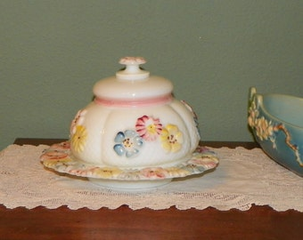 Antique Cosmos Consolidated BUTTER DISH Plate Opaline Daisy glass