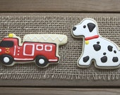 Fire Truck Party Favors / Fire Station Party Favors / Dalmatian Sugar Cookies / Fire Station Sugar Cookies- 12 cookies