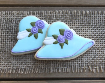 Derby Party Favors / Derby Hat Party Favors / Derby Party Decorations / Bridal Shower Favors / Derby Hat Sugar Cookies - 12 cookies