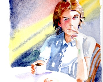Watercolor-'Coffee Time'-Painting-Girl and coffee-Interior Painting-Original by Diann