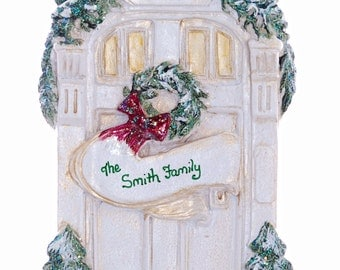 Personalized front door ornament - new home ornament - family door ornament - white front door Christmas ornament - made in the USA