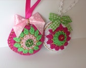 Handmade crocheted Christmas ornaments set of 2 fuchia green and white