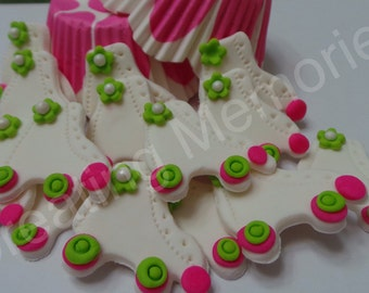 FONDANT ROLLER SKATES - White Fondant Roller Skates with  hot pink and lime green accents - Great for Cupcakes, Cakes and or Cookies