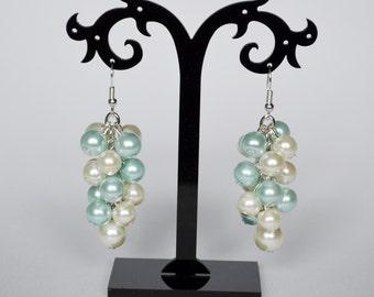Ivory and Aqua Cluster Earrings, cream pearl jewelry, ivory and aqua wedding combo, ivory chunky pearl earrings, bridesmaid cluster earrings