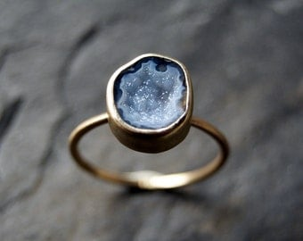 Blue Geode Druzy Ring in Solid 14K Yellow Gold - Size 7 - 7.5