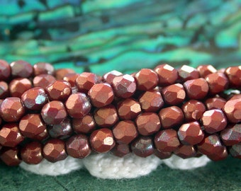 2mm Fire Polished Beads, Czech Glass Fire Polished Beads, Czech Glass Beads, Faceted Glass Beads, Opaque Red Bronze Vega Beads  CZ-490