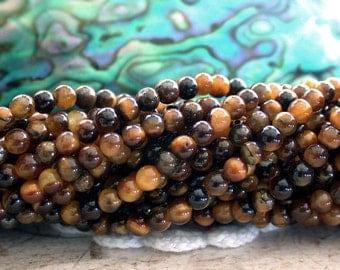 3mm Tigers Eye Beads, Small Tigers Eye Beads, Semi Precious Beads, Gemstone Beads SP-272