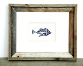 Linocut Print - Nautical Print - Abstract Tribal Fish 5 x 7 Block Print - 1-2005