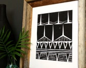 Modern Tribal Patterns - Geometric Print - Linocut Block Print - Original or Digital Print