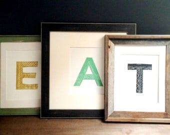 Kitchen Decor - EAT Typography Kitchen Poster 8 x 10 Block Print - Food Print - 1-1011