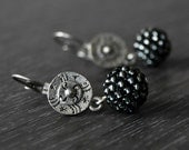 Antique silver earrings,dangle earrings,glass earrings,round bead earrings,tribal earrings