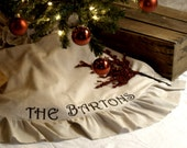 70 Inch Burlap Christmas Tree Skirt, Linen Home Decor, Rustic Christmas Decoration