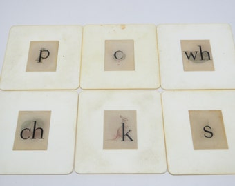 6 Vintage Flash Cards with Letters and Pictures