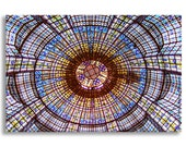 Paris Photograph on Canvas - Stained Glass Ceiling Printemps, Gallery Wrapped Canvas, Paris Urban Decor, Large Wall Art